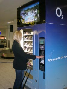 A Vending Machine at Gatwick Airport in use